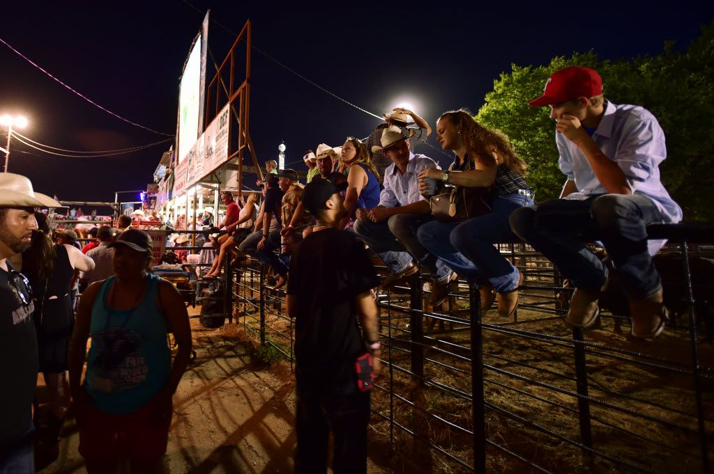Rodeo fans line the top of a fence trying to get a glimpse of the action at the North Texas Fair and Rodeo, Saturday, August 23, 2014, in Denton, TX. David Minton/DRC