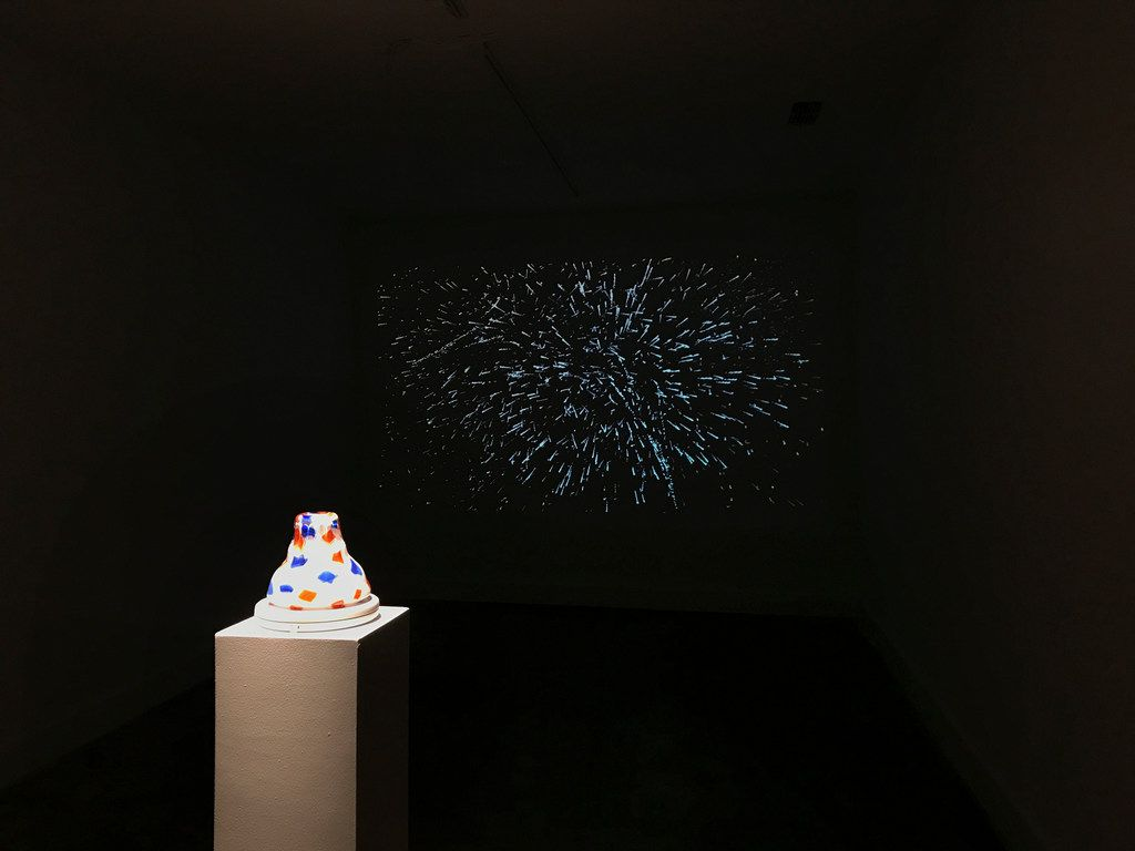 An installation with works by Liss LaFleur, both included in the show Independence, at The MAC