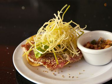 Caribbean's Shark Seafood on Greenville Avenue in Dallas opened in late March 2021. Its menu includes this tuna-on-a-tostada plate with avocado, chipotle sauce and leeks.
