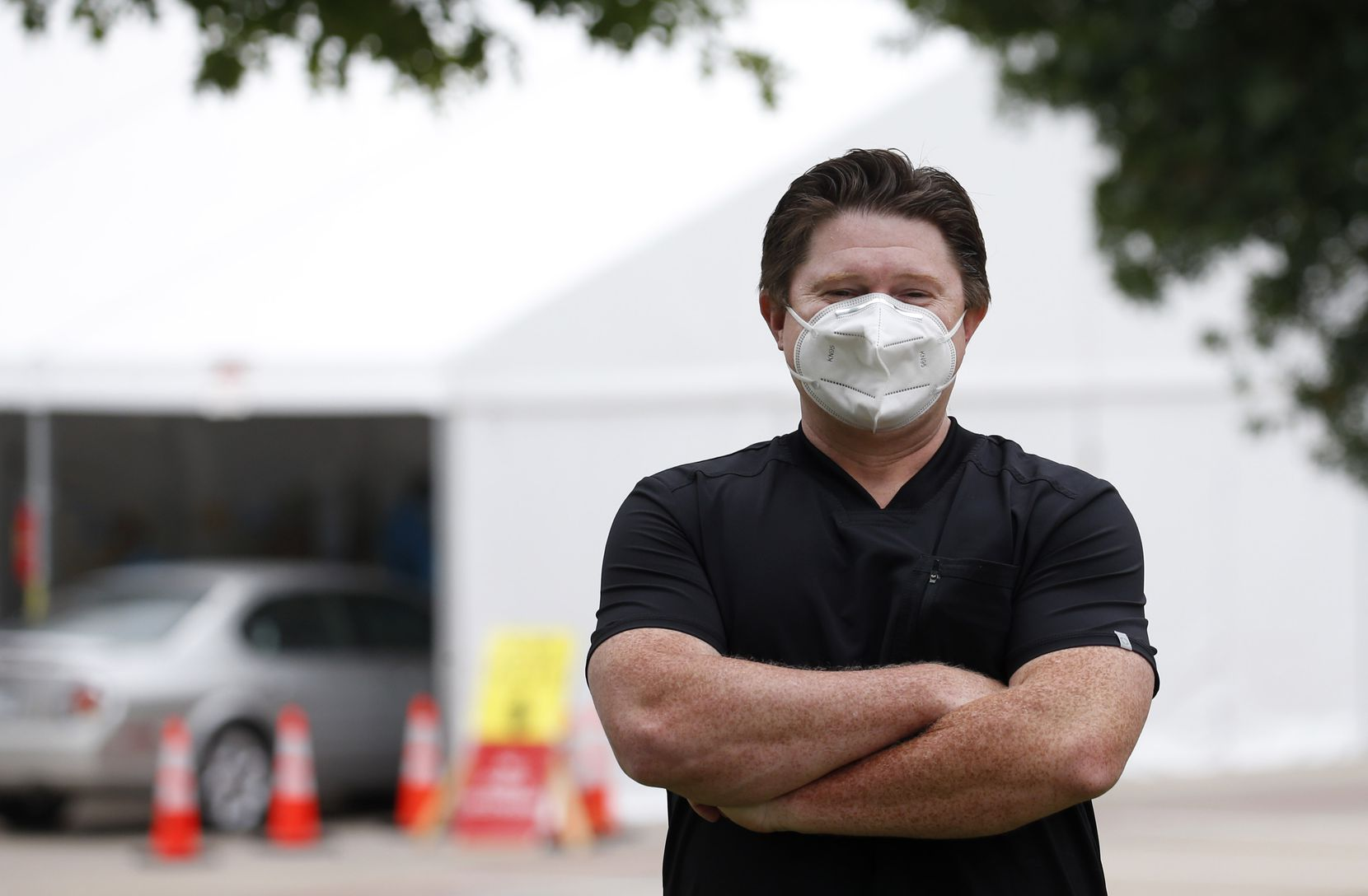 Devin Thornton, CEO of Honu Management Group poses for a photo at the drive-through COVID-19 testing site at the University of Dallas in Irving, Texas on Monday, July 27, 2020. (Vernon Bryant/The Dallas Morning News)