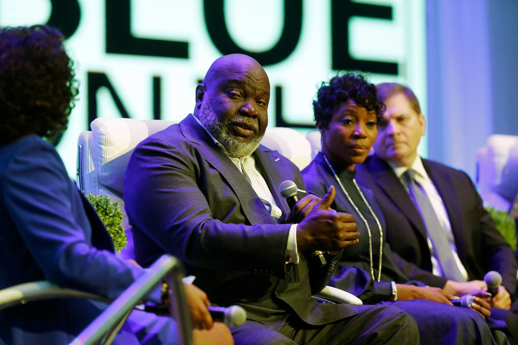 Bishop T.D. Jakes speaks during the Blue on the Block community meeting at The Potter's House.