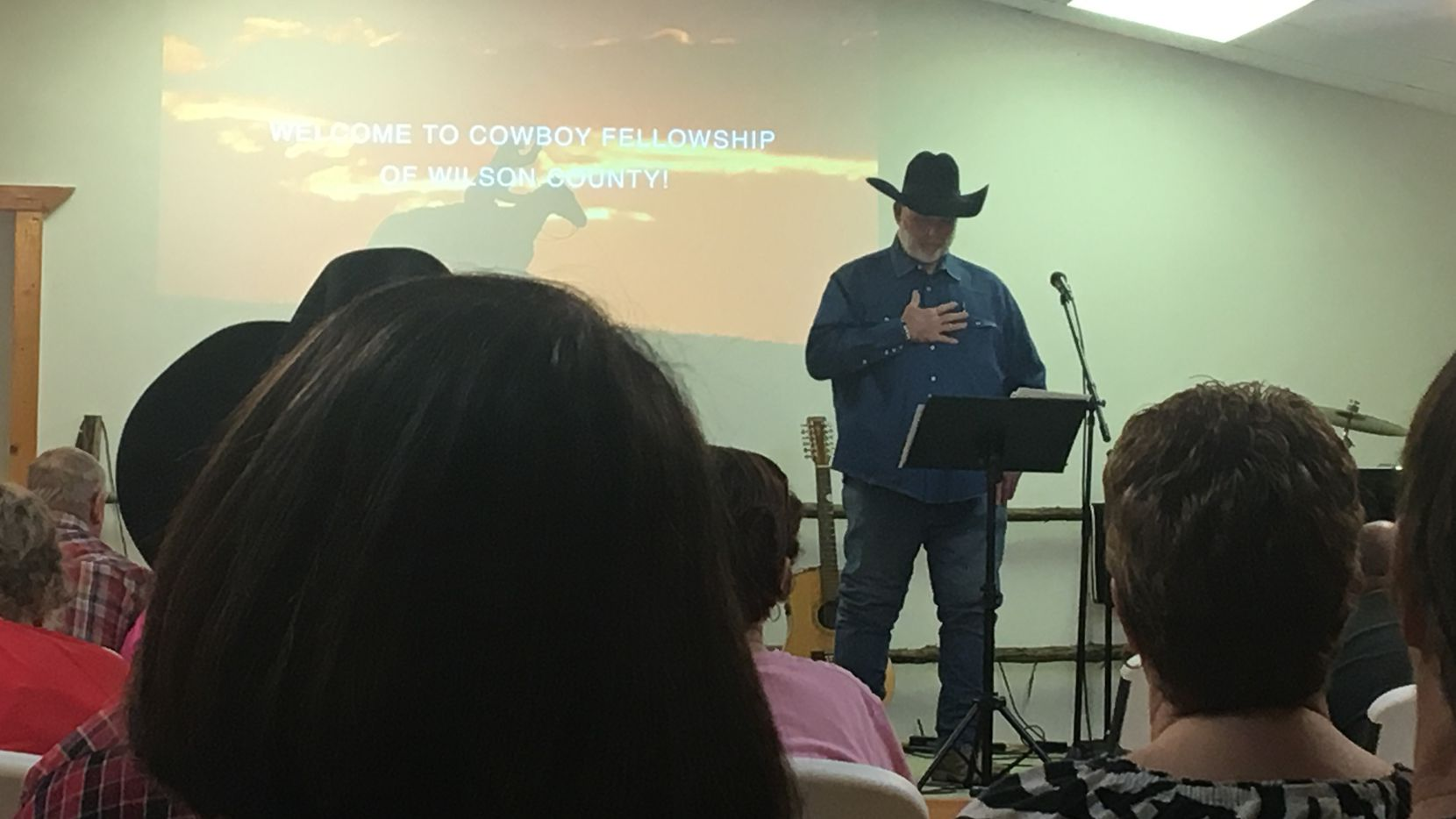 Elder Jarrell Hill of Cowboy Fellowship of Wilson County addressed fellow church members Monday night. (Naomi Martin/Staff)