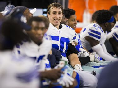 Dallas Cowboys outside linebacker Sean Lee (50) smiles on the sideline during the fourth quarter of an NFL game between the Dallas Cowboys and the Washington Redskins on Sunday, December 29, 2019 at AT&T Stadium in Arlington, Texas.