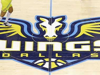 Midcourt logo for the Dallas Wings during their first home opener against the San Antonio Stars at College Park Center in Arlington, Saturday, May 21, 2016.