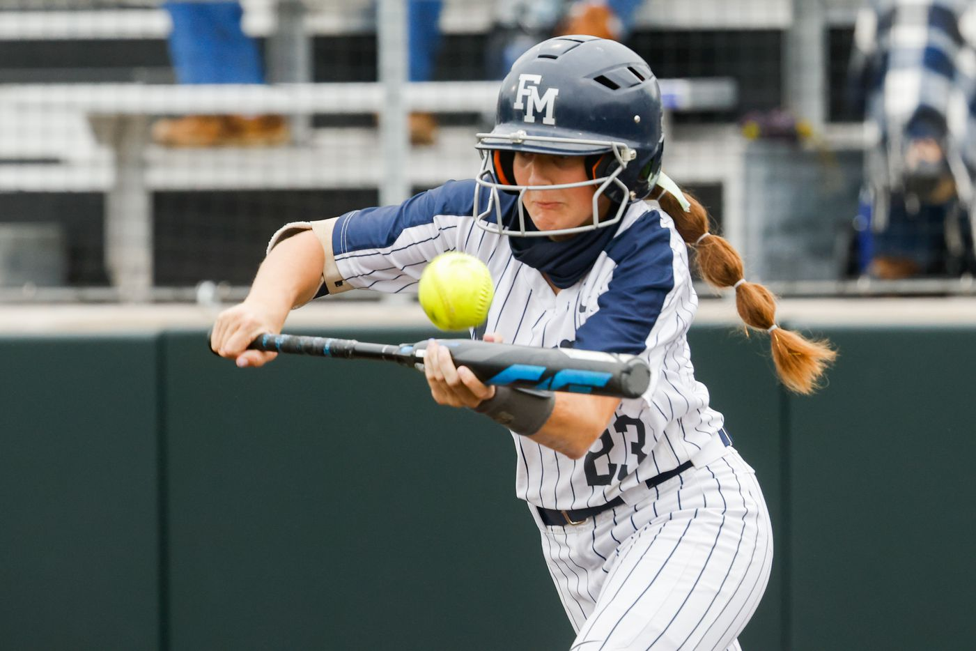 Flower Mound's Courtney Cogbill (23) hits the ball against McKinney Boyd during the first inning of a Class 6A bi-district playoff game on Friday, April 30, 2021, in Denton. (Juan Figueroa/The Dallas Morning News)