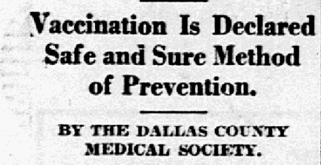 Headline from March 7, 1926, declaring vaccination as a safe and sure method to deter smallpox epidemics