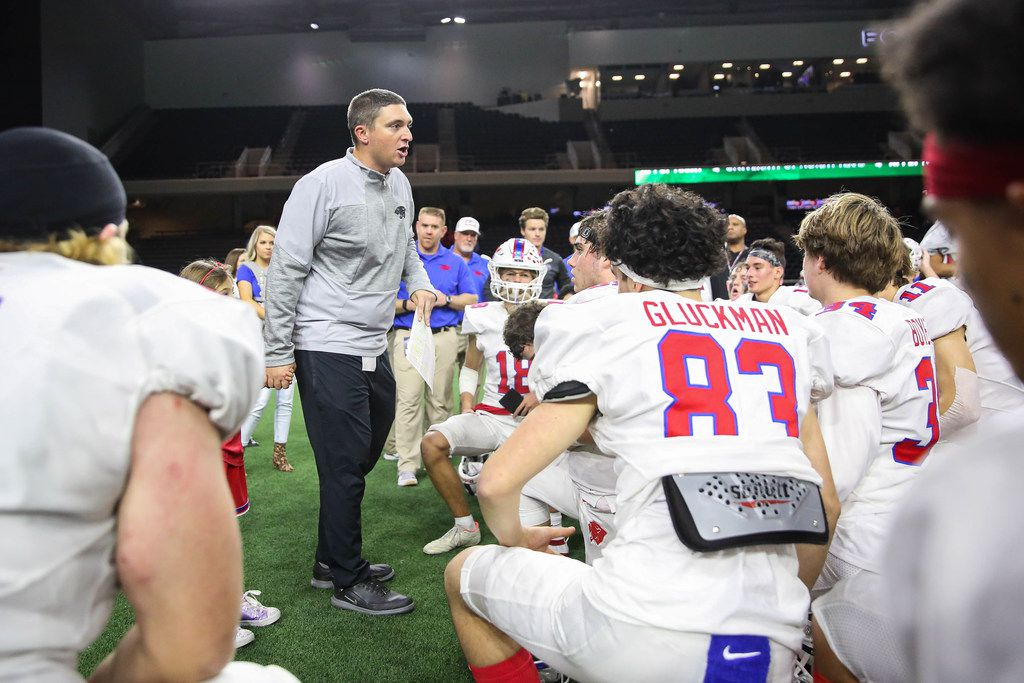 Parish EpiscopalÕs coach Daniel Novakov gives a pep talk after winning a TAPPS Division I state semifinal game against Houston St. Thomas at the Star in Frisco, on Saturday, November 30, 2019. Parish Episcopal won 41-21. (Juan Figueroa/The Dallas Morning News)
