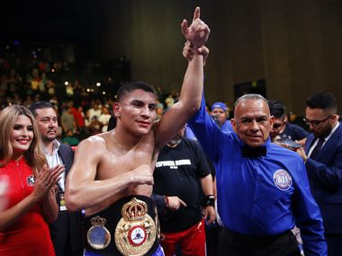 Vergil Ortiz Jr., a Grand Prairie native, is announced the winner after his sixth round knock out of Antonio Orozco during their WBA Gold Welterweight title fight at The Theatre at Grand Prairie, Texas, Saturday, August 10, 2019.
