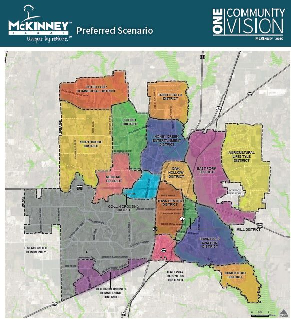This shows the preferred scenario for the ONE McKinney 2040 Comprehensive Plan, which is still in draft phase and has not been adopted by the McKinney City Council.