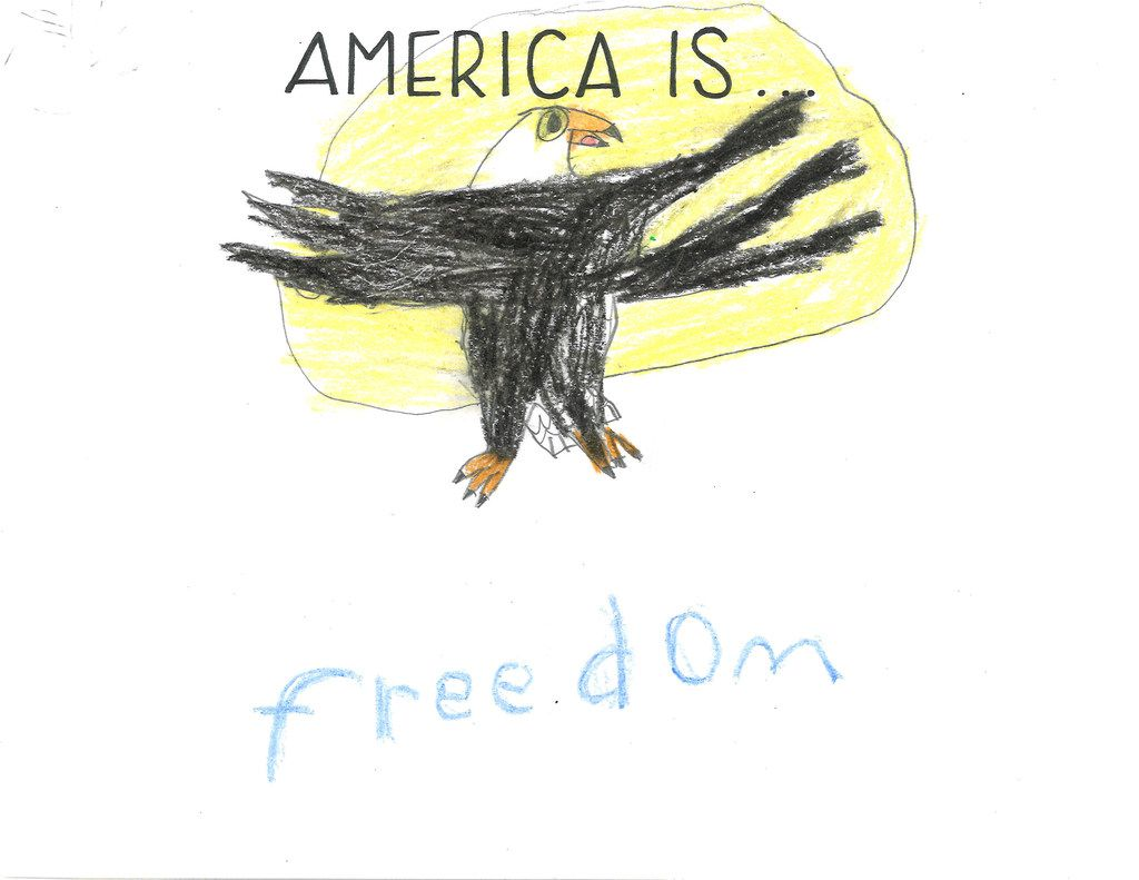 A bald eagle takes flight and represents freedom in a drawing by Myles Wright-Gibbs, 10.
