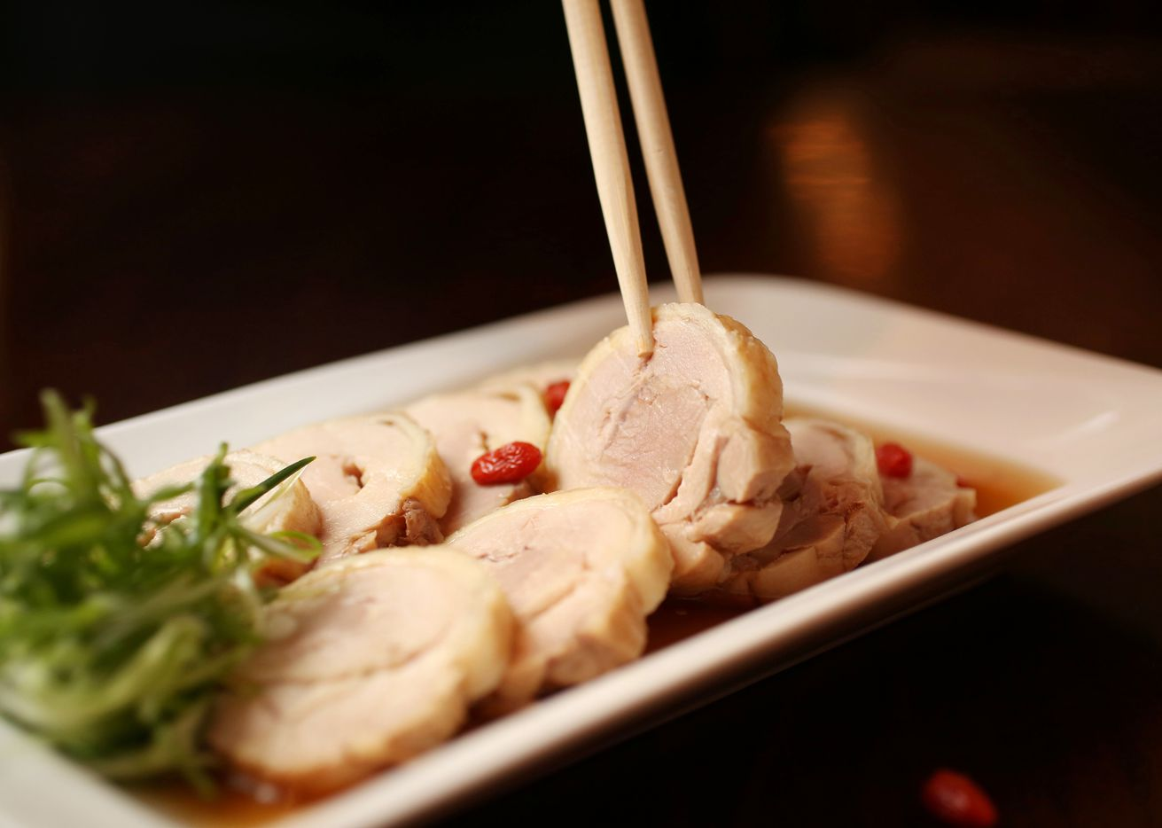 Drunken chicken, an appetizer at Wue Wei Din Chinese Cuisine, a Taiwanese restaurant in Plano (Rose Baca/Staff Photographer)