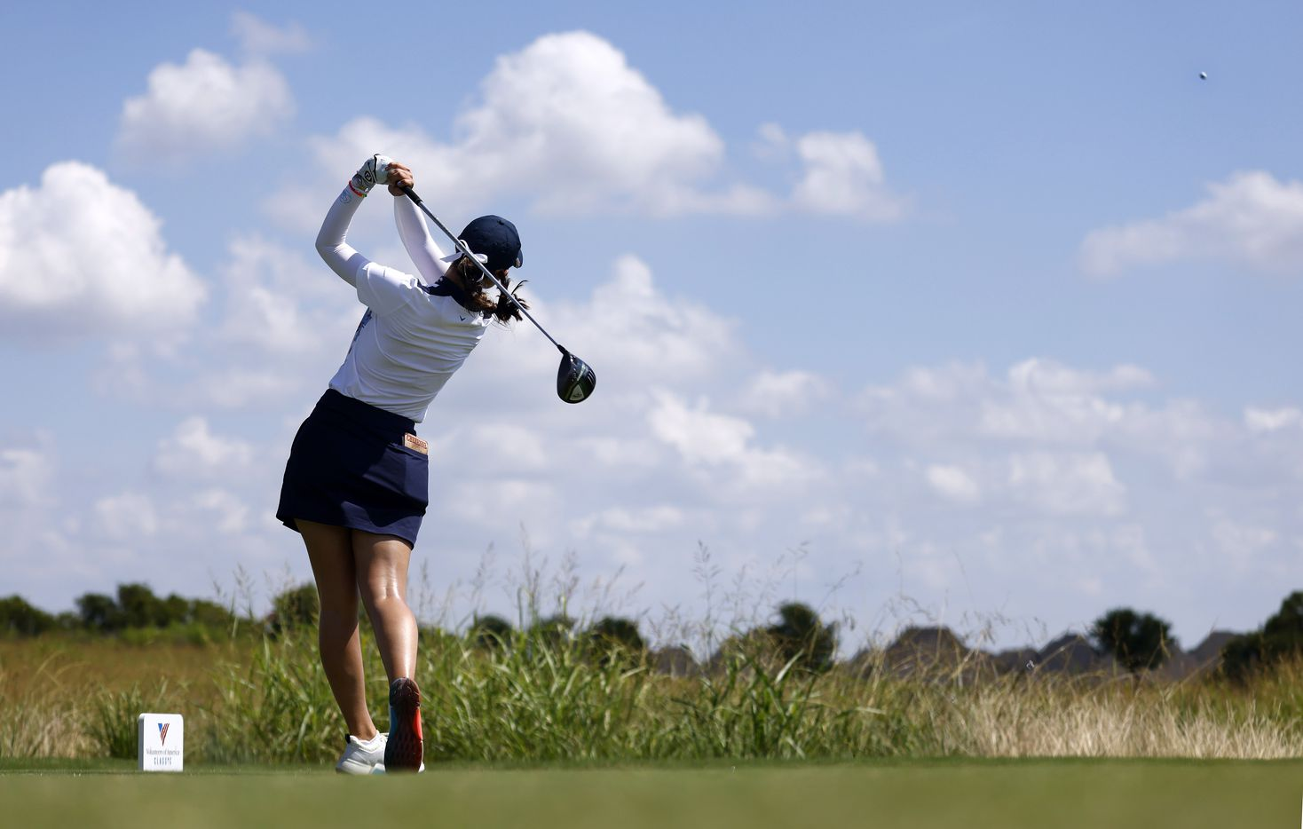 Professional golfer Cheyenne Knight of Aledo follows through on her drive on No. 1 during the opening round of the LPGA VOA Classic at the Old American Golf Club in The Colony, Texas, Thursday, July 1, 2021. (Tom Fox/The Dallas Morning News)