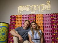 Husband and wife team Stephen and Allison Ellsworth pose for a portrait at the Poppi office in Dallas on July 1. Poppi is a Dallas-based probiotic drink company that started out at local farmers markets and is now growing across the country.