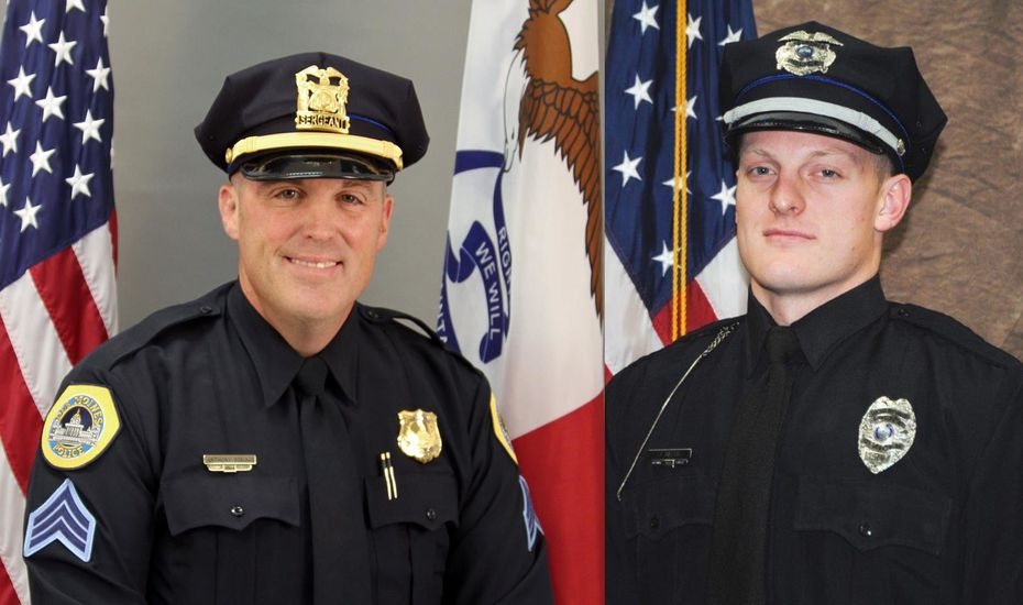 "Des Moines police Sgt. Anthony ""Tony"" Beminio, left, and Urbandale Police Officer Justin Martin, right, were fatally shot early Wednesday morning."