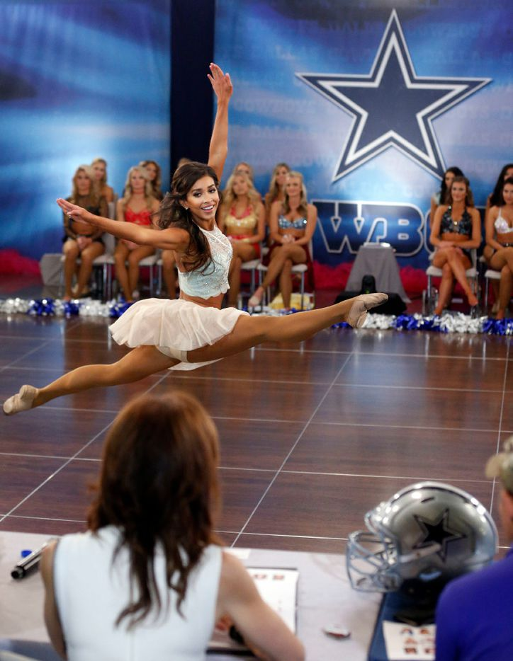 Veteran Cowboys cheerleader Lacey of Southlake dances during the individual talent portion of tryouts for the Dallas Cowboys Cheerleaders.