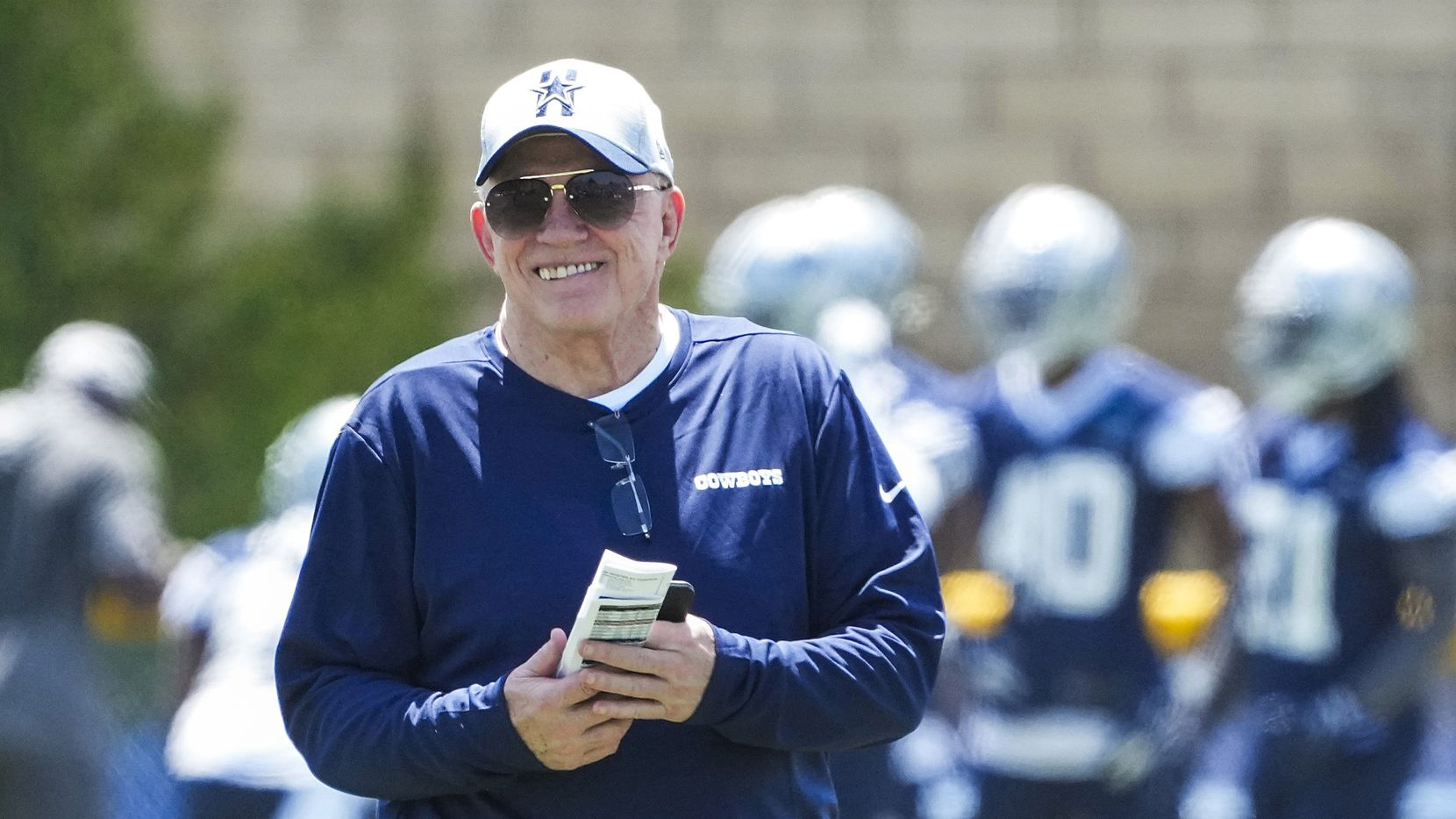 Dallas Cowboys owner and general manager Jerry Jones watches the first practice of the team's training camp on Thursday, July 22, 2021, in Oxnard, Calif.