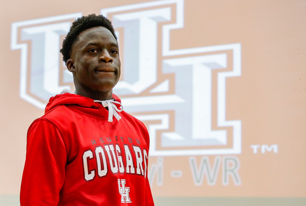 TXHSFB Mansfield Legacy senior wide receiver Ife Adeyi participates during an early signing day ceremony at Mansfield Legacy High School, Wednesday, December 19, 2018. Adeyi intends to play for Houston. (Brandon Wade/Special Contributor)