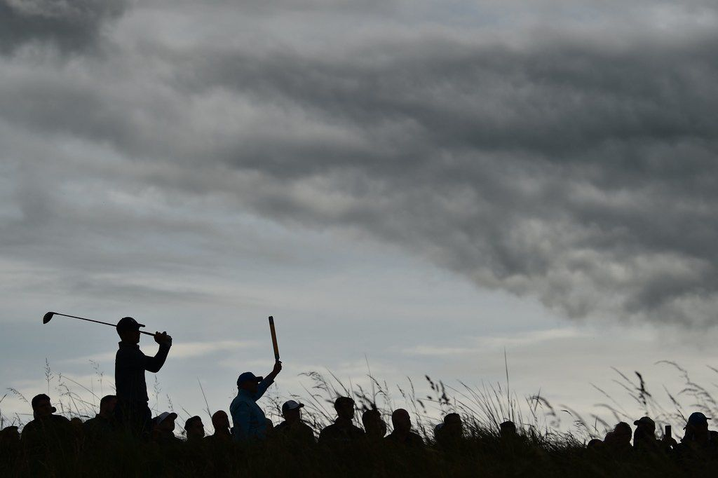US golfer Jordan Spieth tees off from the 12th tee during the second round of the British Open golf Championships at Royal Portrush golf club in Northern Ireland on July 19, 2019. (Photo by Glyn KIRK / AFP) / RESTRICTED TO EDITORIAL USEGLYN KIRK/AFP/Getty Images