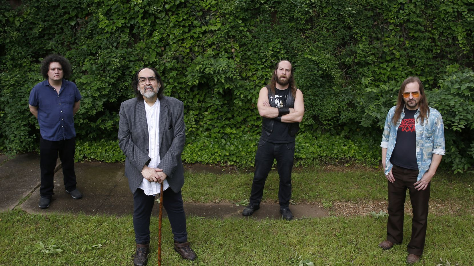Aaron Gonzalez, Dennis Gonzalez, Stefan Gonzalez and Daron Beck pose for a portrait at the home of Dennis Gonzalez in Dallas on Tuesday, April 28, 2020. Yells at Eels and Pinkish Black recorded an album together while members from both groups had life-threatening health issues.