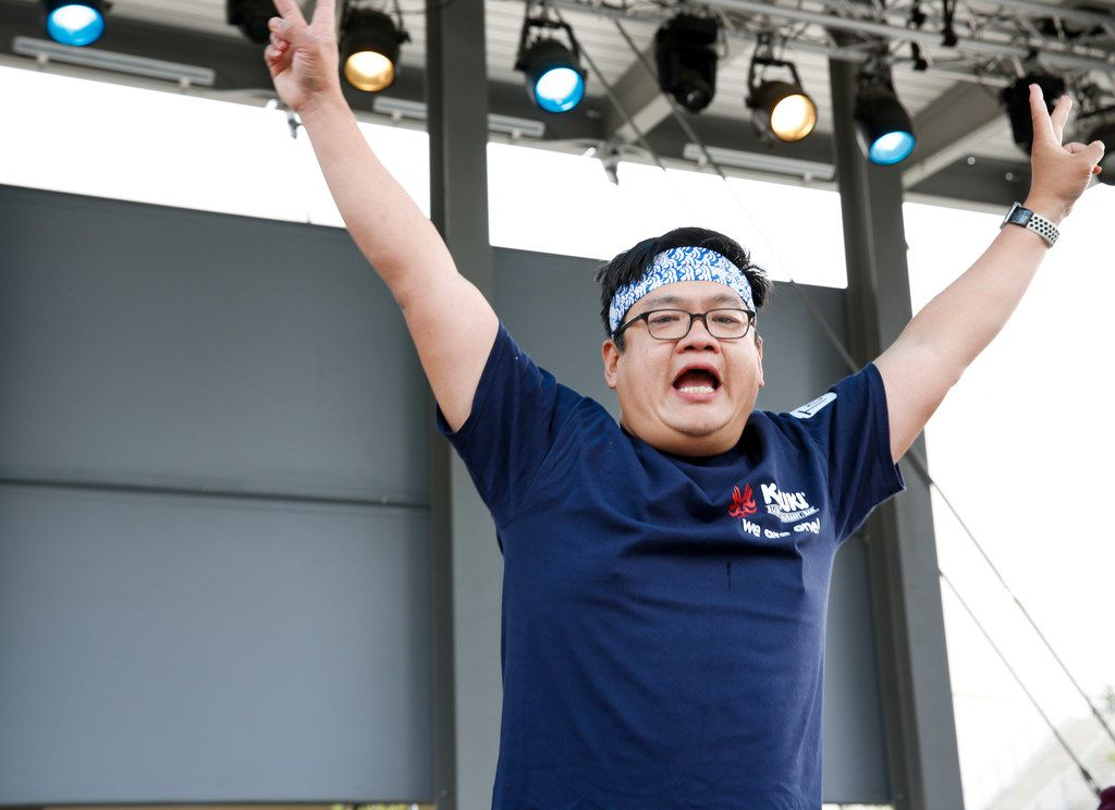 Tony Lin of Coppell celebrates winning the first Sushi Speed Eating Contest at Kabuki Restaurant after eating ten rolls the fastest on Saturday,  April 6, 2019 in Irving, Texas. (Brian Elledge/The Dallas Morning News)