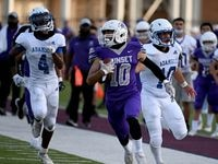 Sunset's Fernando Jasso (10) runs for a touchdown past Adamson's Isaiah Torres (4) and Adamson's Jonathan Rodriguez (10) in the first half during a high school football game between Adamson and Sunset, Saturday, Sept. 4, 2021, in Dallas.