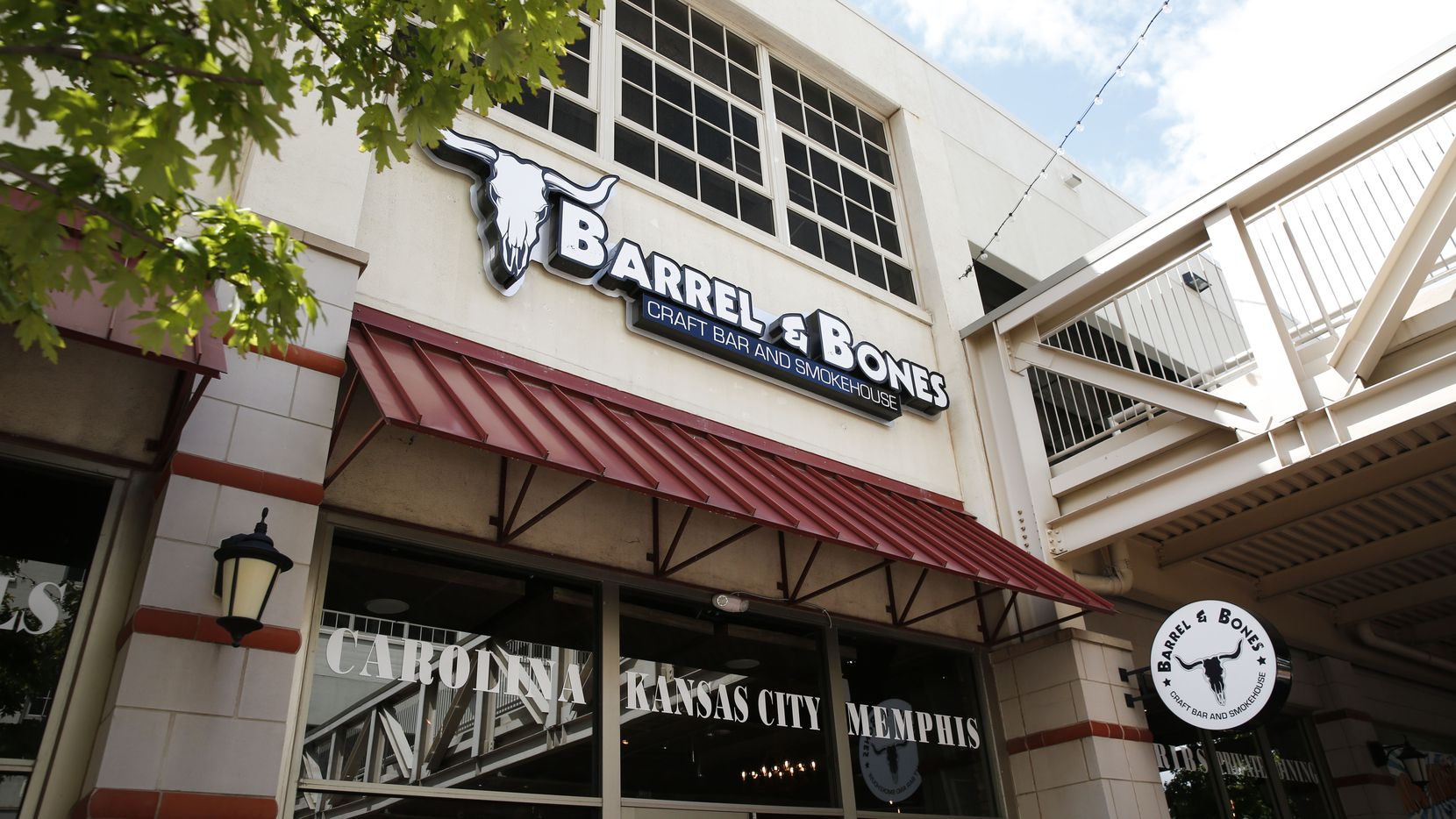 Exterior of Barrel & Bones Craft Bar and Smokehouse in Fort Worth, Texas on Wednesday, Sept. 5, 2018. (Rose Baca/The Dallas Morning News)