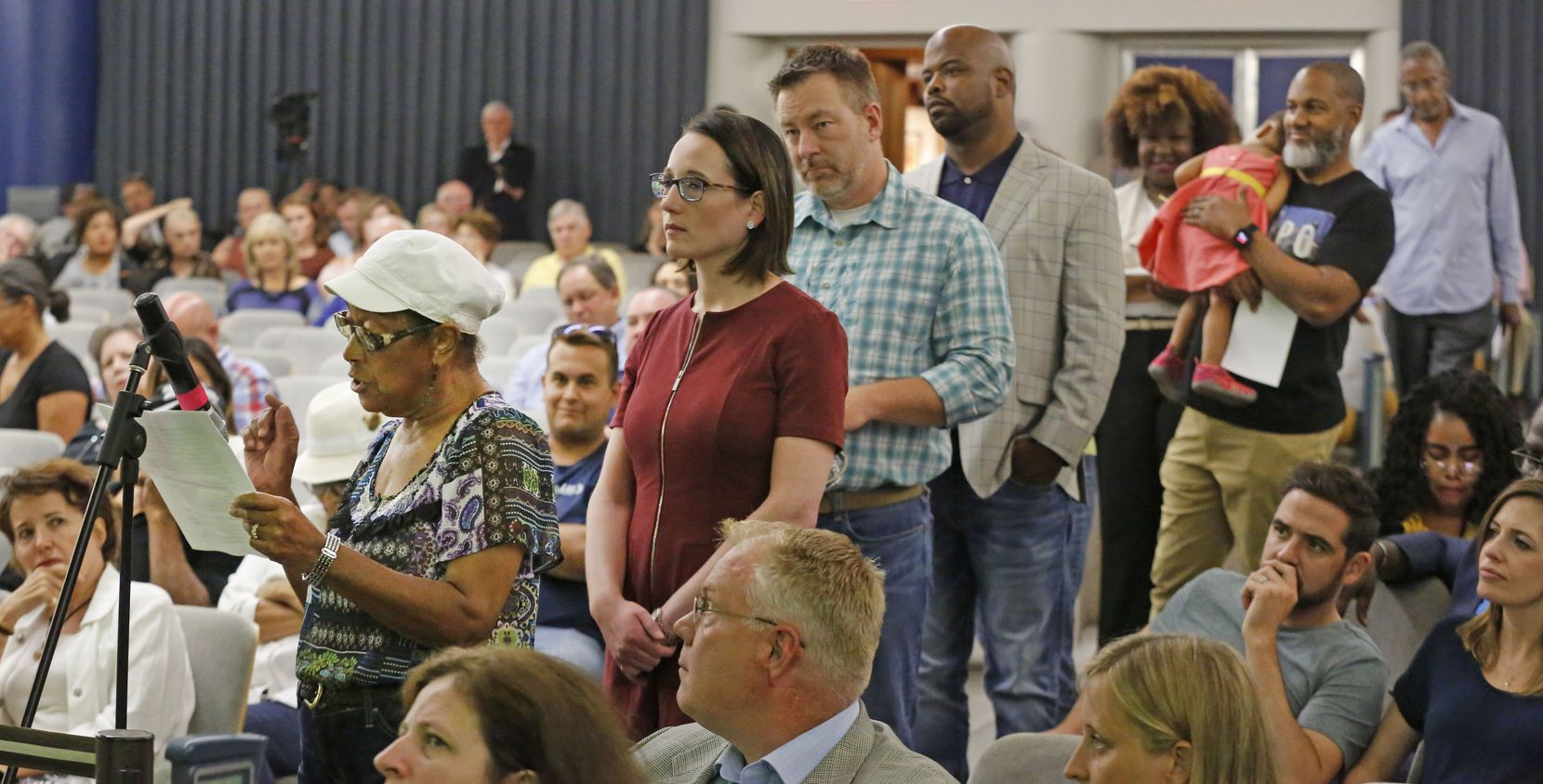 Anna Hill, in her role as president of the Dolphin Heights Neighborhood Association, took her turn at the microphone in August 2018 as the city considered the future of Fair Park.