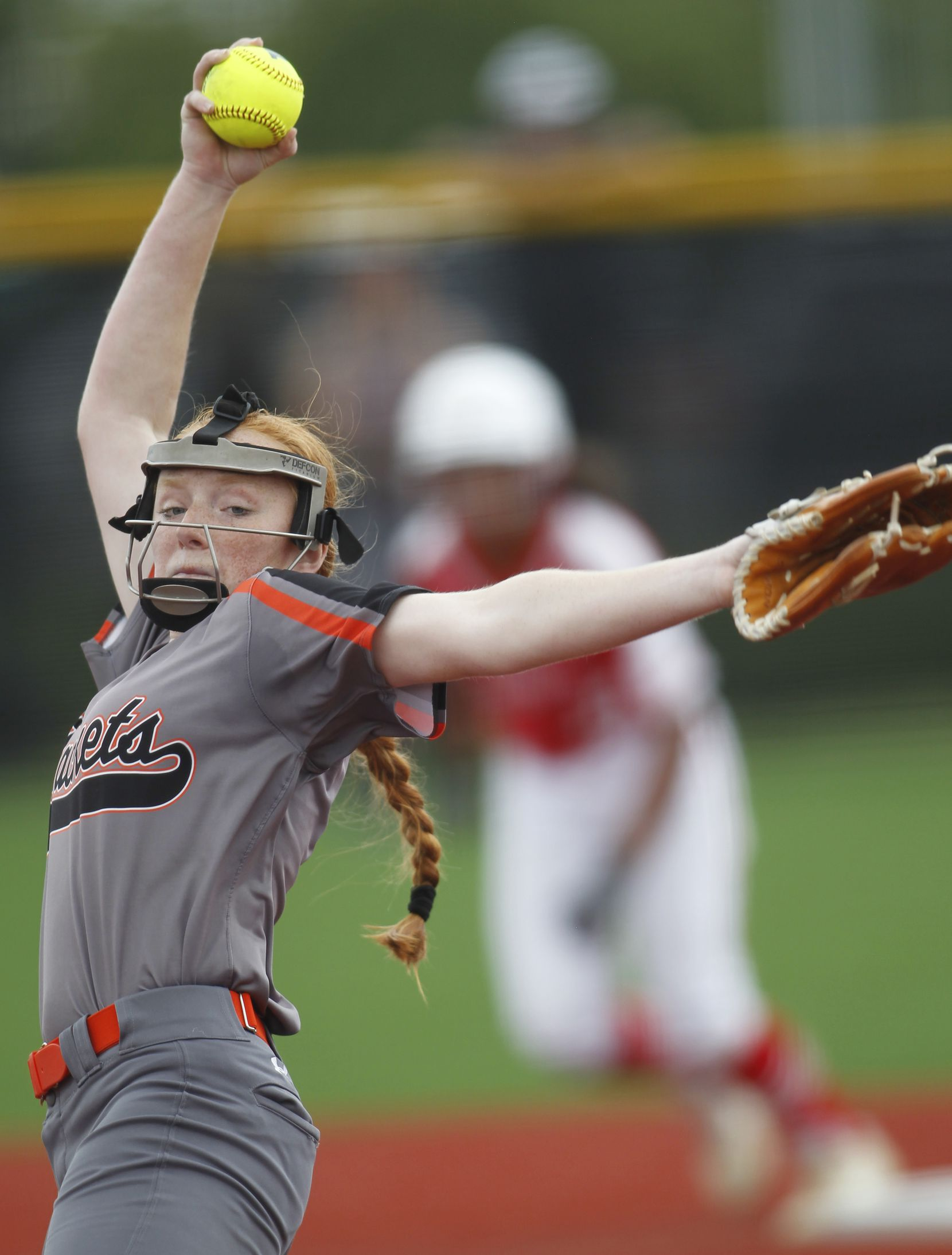 Rockwall pitcher Ainsley Pemberton (9) delivers a pitch to a Converse Judson batter with a runner at 2nd base during the bottom of the first inning of play. The two teams played their UIL 6A state softball semifinal game at Leander Glenn High School in Leander on June 4, 2021. (Steve Hamm/ Special Contributor)
