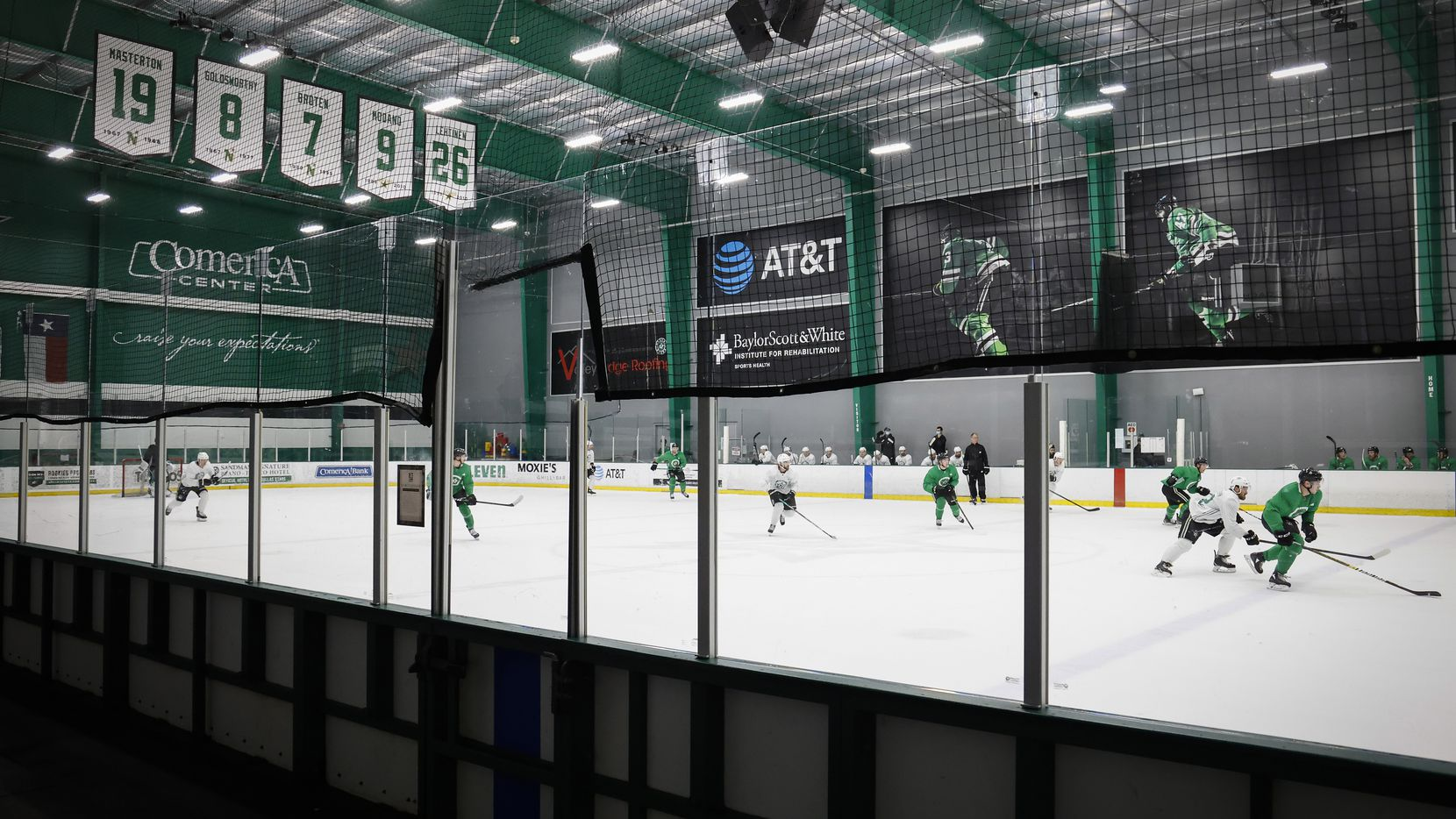 The Dallas Stars scrimmage during a training camp practice at the Comerica Center on Wednesday, Jan. 6, 2021, in Frisco.