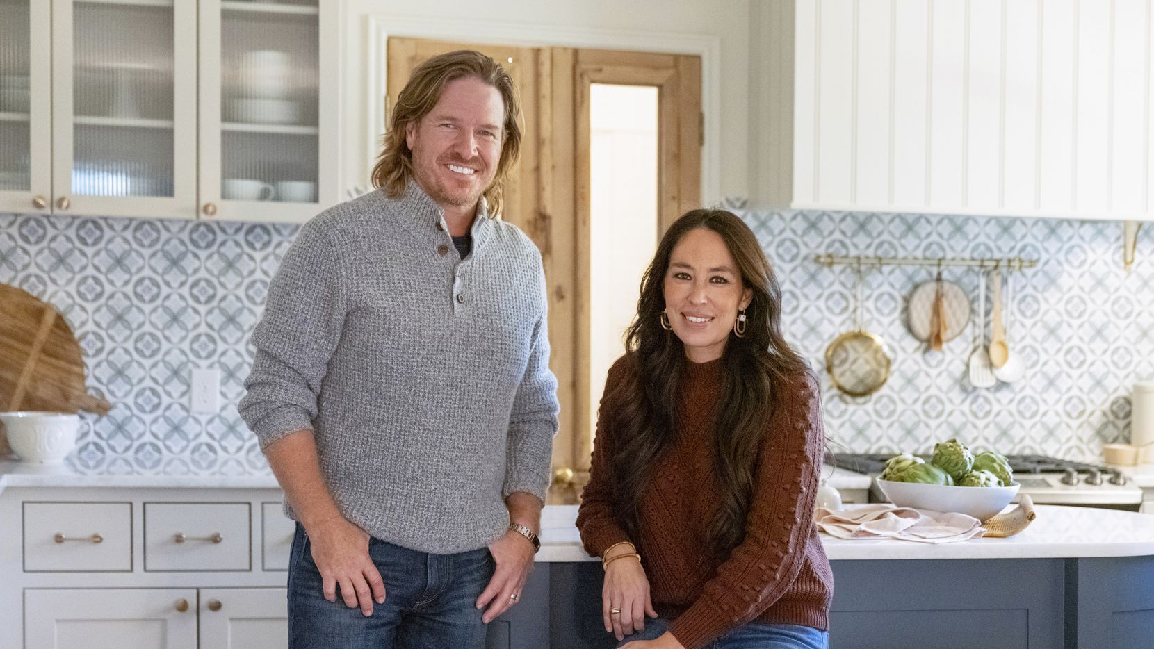 """This image released by Magnolia Network shows Chip and Joanna Gaines from the sixth season of """"Fixer Upper."""""""