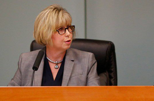 """Plano ISD board president Missy Bender, shown at a November board meeting, said property tax relief, school finance reform and transparency in taxation are among the board's priorities. """"We agree that school districts should be allowed to provide property tax relief to taxpayers,"""" she said."""