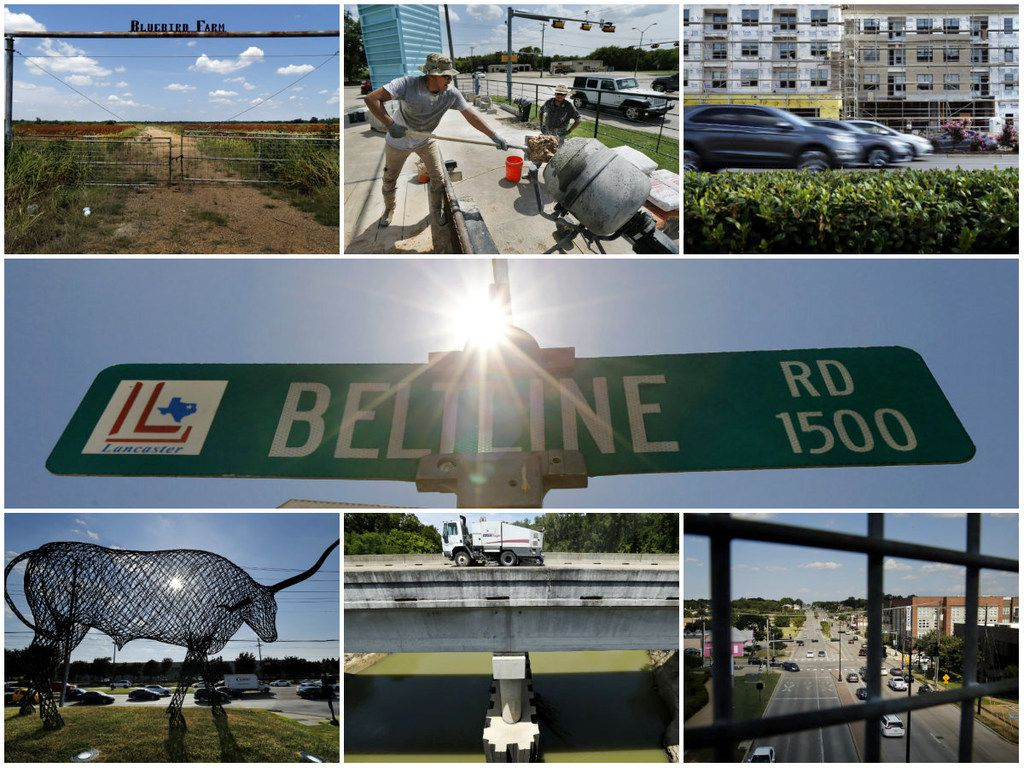 Along Belt Line/Beltline Road on Aug. 7, 2019: From top left to right, the Bluebird Farm entrance in Wilmer; construction worker Jesse Hernandez shovels sand into a mixer at a new restaurant in Sunnyvale; cars zoom past new apartments in Addison; the hot summer sun shines over the Beltline Road sign in Lancaster; a large steel longhorn looms over evening traffic at Cypress Waters in Dallas; a street sweeper cleans the bridge crossing the Trinity River in Seagoville; and traffic along Belt Line Road in Carrollton.