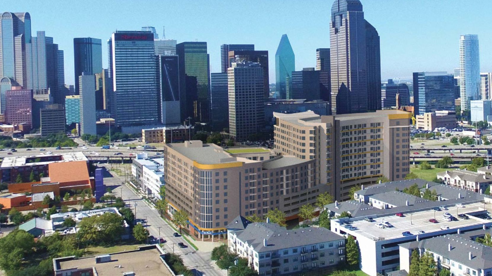 Developer Greystar is building a 10-story apartment and retail tower on the east side of downtown Dallas.