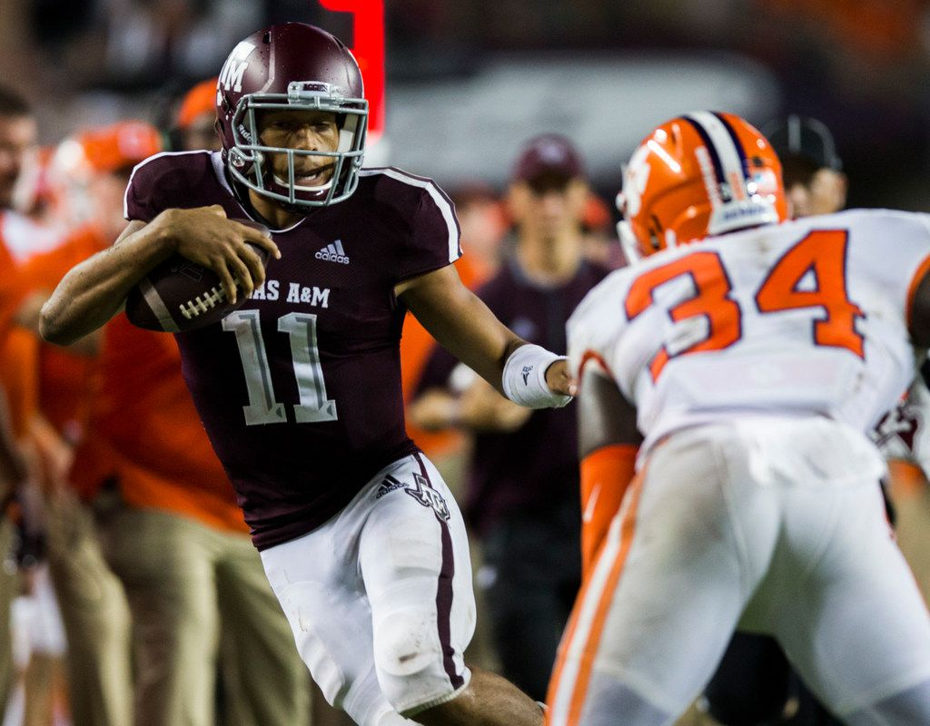 Texas A&M Aggies quarterback Kellen Mond (11) runs the ball during the third quarter of a college football game between the Clemson Tigers and the Texas A&M Aggies on Saturday, September 8, 2018 at Kyle Field in College Station, Texas. (Ashley Landis/The Dallas Morning News)
