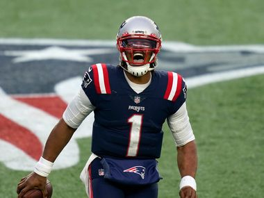FILE - New England Patriots quarterback Cam Newton celebrates his touchdown pass to Devin Asiasi in the second half of an NFL football game against the New York Jets, in this photo by archive of Sunday January 3, 2021, in Foxborough, Mass.