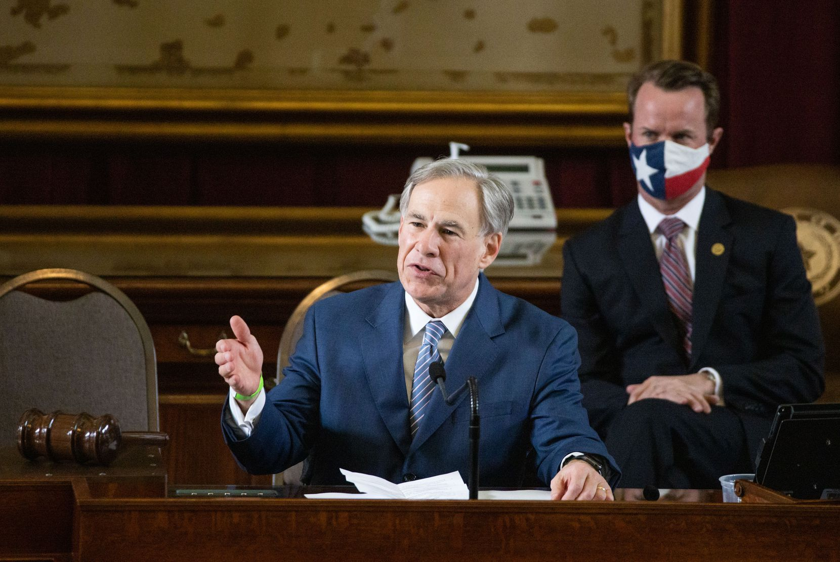 Texas Gov. Greg Abbott addressed state representatives during the House opening ceremony for the 87th Texas Legislature at the Capitol building in Austin on Jan. 12, 2021.