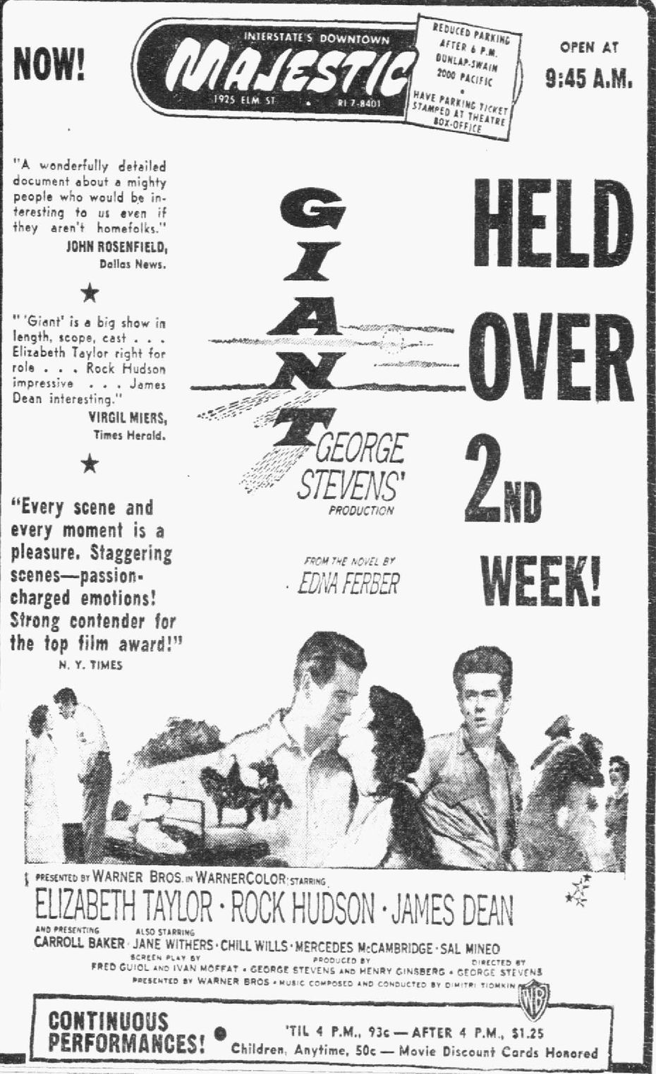 A movie ad in The Dallas Morning News promoting the movie Giant in 1956.