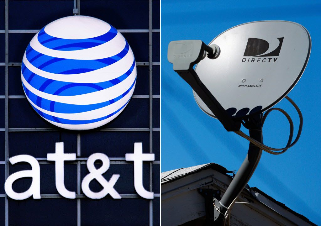 FILE - This file combo made from file photos shows the AT&T logo on the side of a corporate office in Springfield, Ill., left, and a DirecTV satellite dish atop a home in Los Angeles. AT&T's $48.5 billion purchase of DirecTV is set to close after winning clearance from the Federal Communications Commission, according to reports, Friday, July 24, 2015. (AP Photo/File) 07252015xALDIA