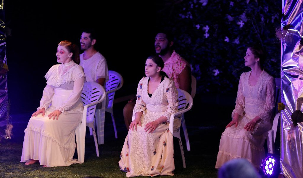 Most of the dancers perform in whiteface during War Flower  by the Danielle Georgiou Dance Group at Bath House Cultural Center in Dallas.