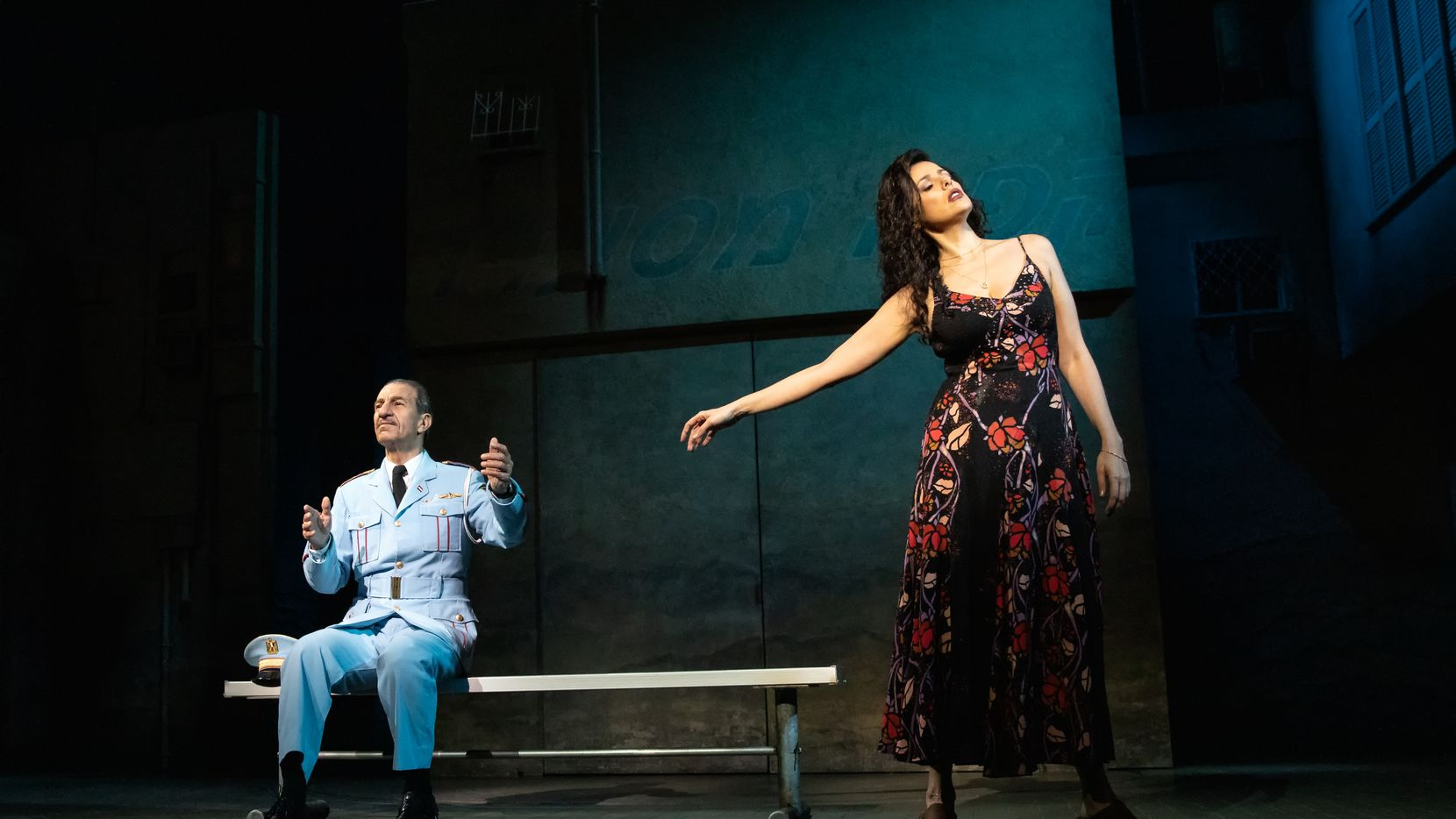 """Col. Tewfiq Zakaria (Sasson Gabay), the leader of an Egyptian police band, meets cafe owner Dina (Janet Dacal) when his group accidentally arrives in her small Israeli desert town in the hit Broadway musical """"The Band's Visit,"""" now on tour. The show runs Feb. 4-23 at Winspear Opera House, co-presented by Dallas Summer Musicals and the AT&T Performing Arts Center."""