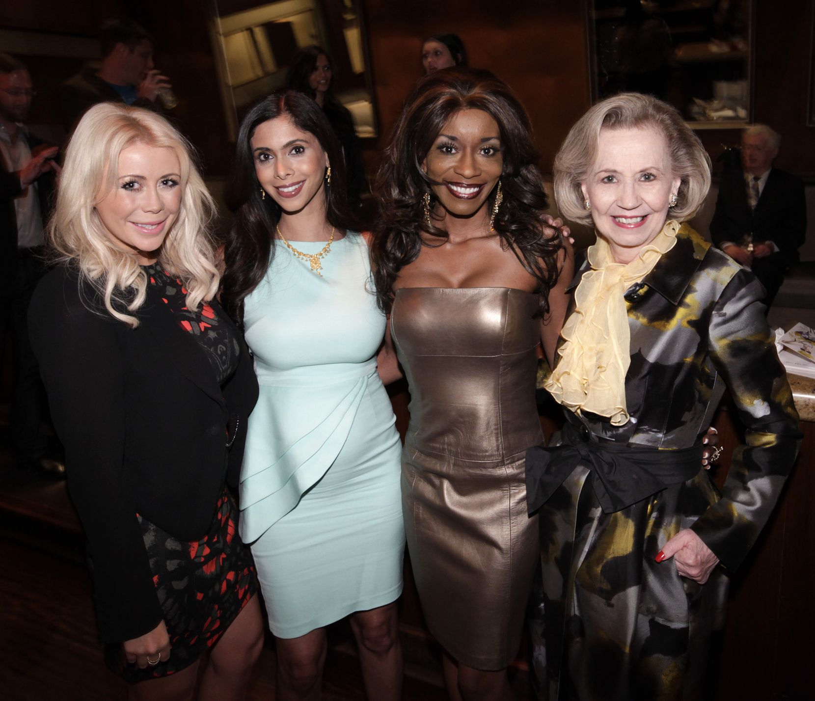Paige Hardison (from left), Priya Rathod, Nicole Barrett and Yvonne Crumb were photographed during the Fresh Faces of Fashion raffle party at Candleroom in Dallas, Texas, on Feb. 22, 2013.