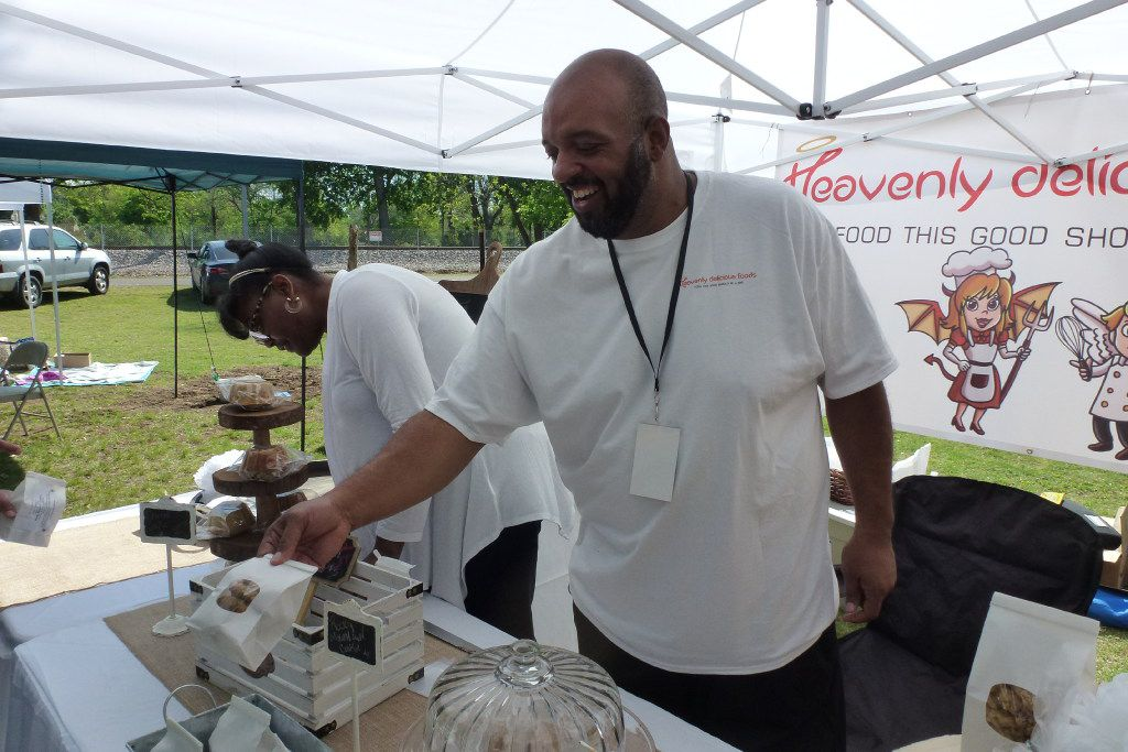 Heavenly Delight booth at Farmers Branch Farmers Market with Fred and Aeisha Rivers.
