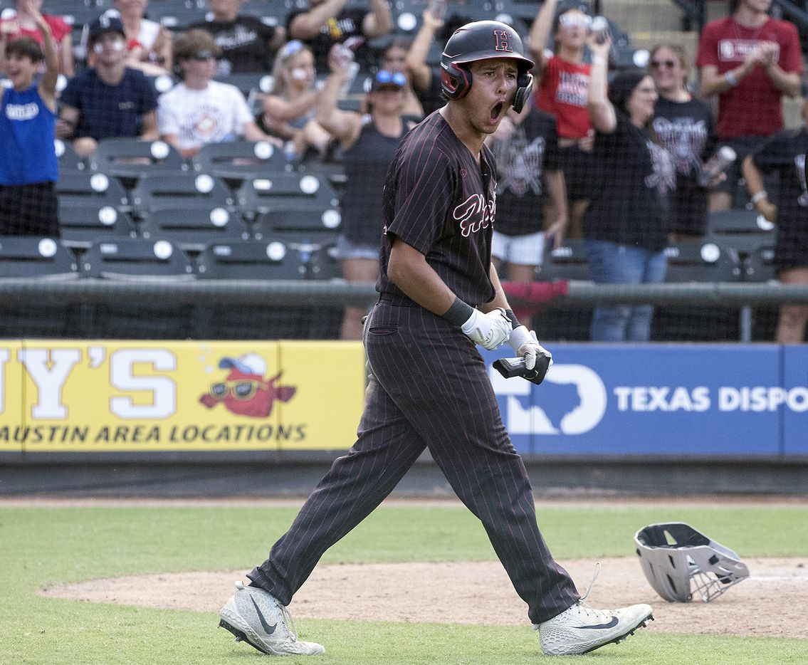 Rockwall-Heath Zach Rike, (21), celebrates the go ahead run against Keller during the sixth inning of the 2021 UIL 6A state baseball final held, Saturday, June 12, 2021, in Round Rock, Texas.  Rockwall-Heath defeated Keller 4-3.   (Rodolfo Gonzalez/Special Contributor)