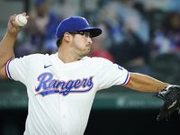 Texas Rangers pitcher Dane Dunning delivers during the first inning against the Baltimore Orioles at Globe Life Field on Saturday, April 17, 2021. (Smiley N. Pool/The Dallas Morning News)
