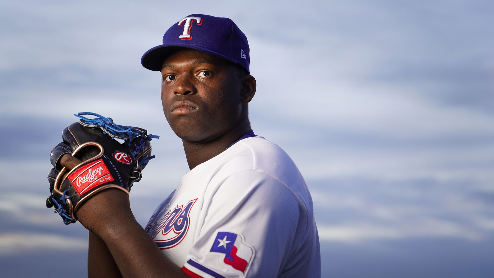 Texas Rangers pitcher Demarcus Evans pictured during photo day at the team's spring training facility on Wednesday, Feb. 19, 2020, in Surprise, Ariz. (Smiley N. Pool/The Dallas Morning News)