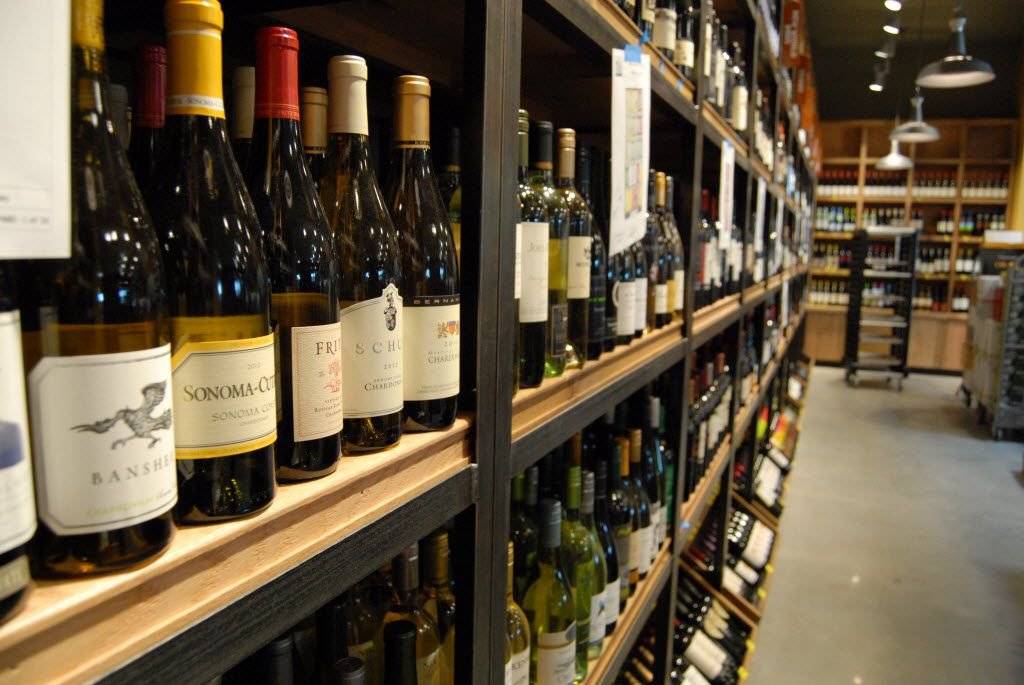 Wine section in the Highland Village, Texas Whole Foods Market.