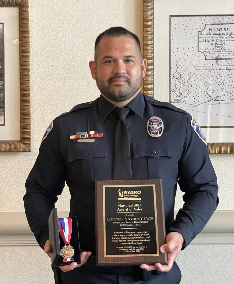 School resource officer Anthony Pate was recognized with a national SRO award last week.