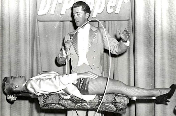 """Mark Wilson, wife Nani Darnell, """"Sponsor, Dr Pepper, Levitation, 1955."""""""