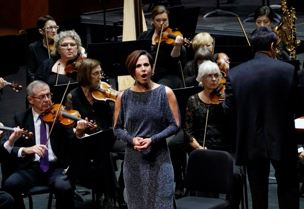 Mezzo-soprano Kelley O'Connor performs Jeremiah Symphony by Leonard Bernstein with the Fort Worth Symphony Orchestra at Bass Performance Hall in Fort Worth, on Aug. 24, 2018. (Lawrence Jenkins/Special Contributor)