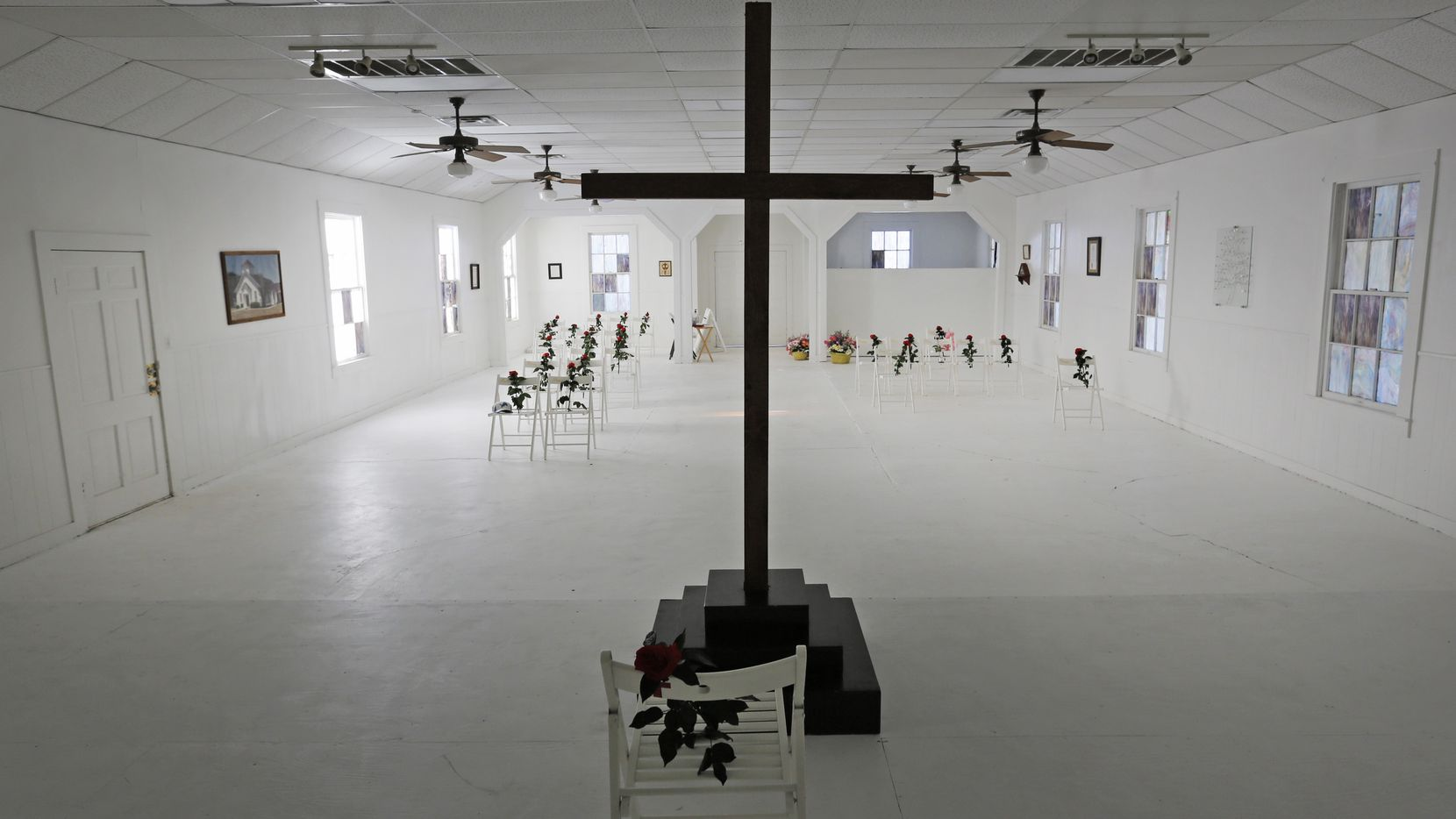 A look at the interior of the Sutherland Springs Baptist Church in Sutherland Springs, Texas, which has been turned into a memorial.  U.S. District Judge Xavier Rodriguez ruled Thursday that victims of the 2017 massacre can continue their lawsuit against the U.S. government for its role in the shooting.